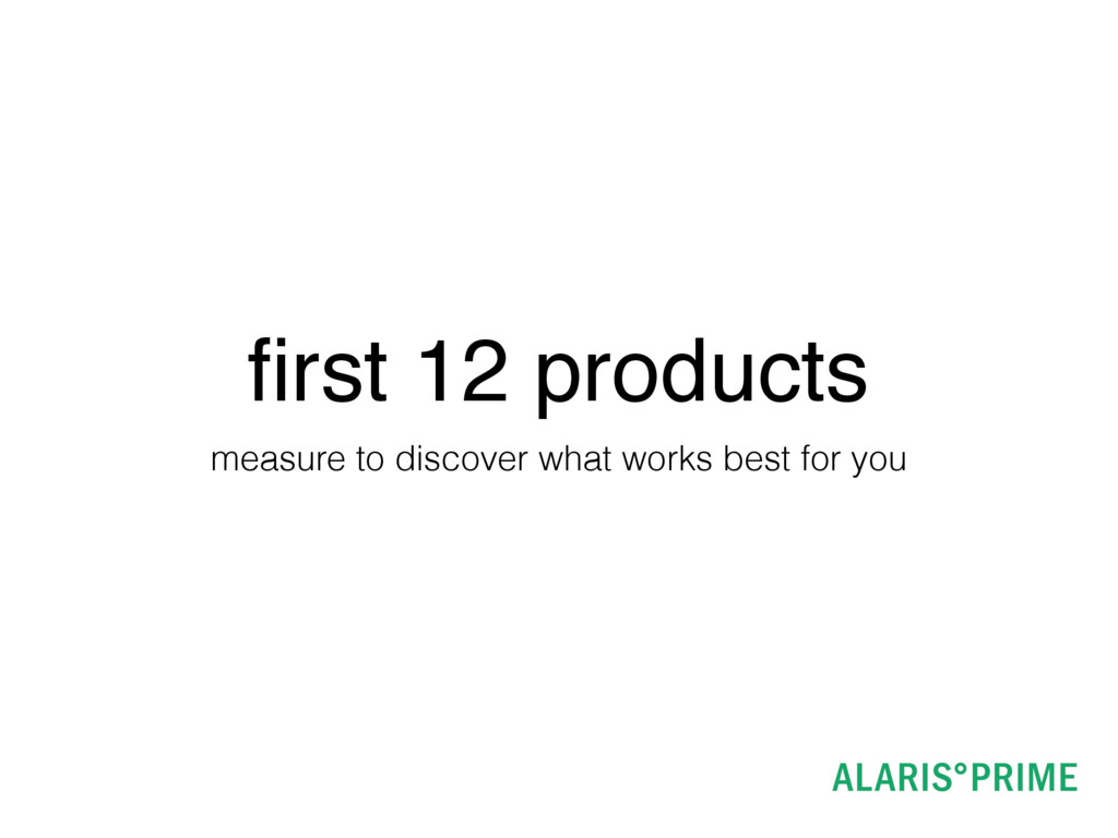 first 12 products measure to discover what works...
