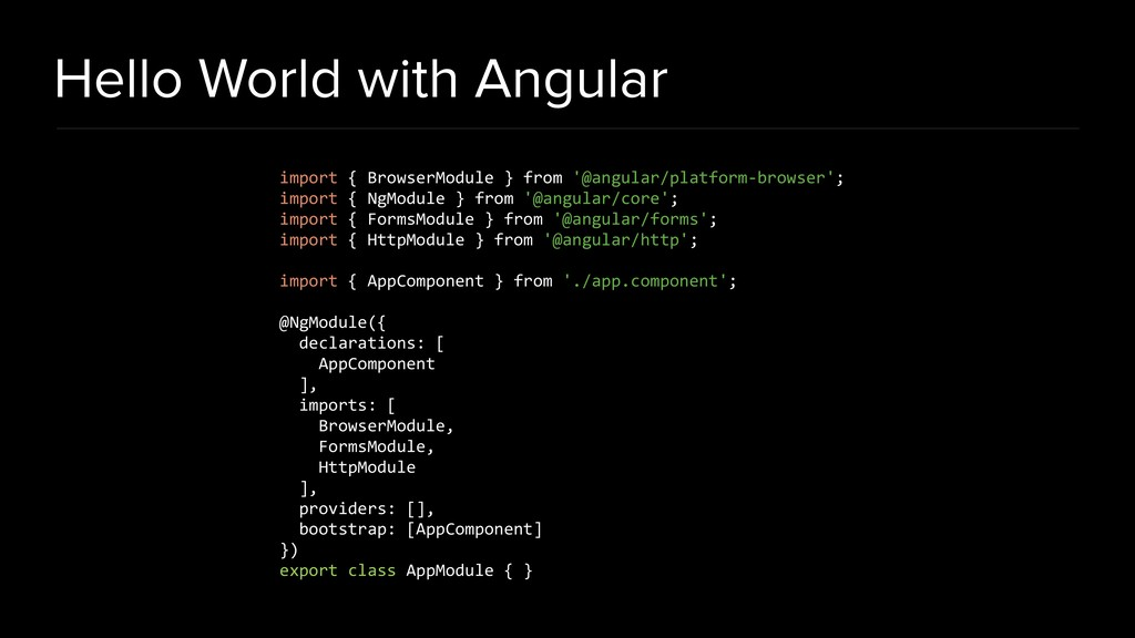 Hello World with Angular import { BrowserModule...