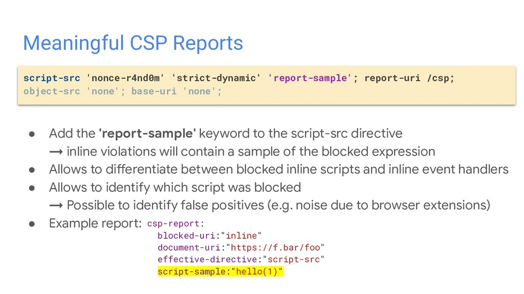 ● Add the 'report-sample' keyword to the script...