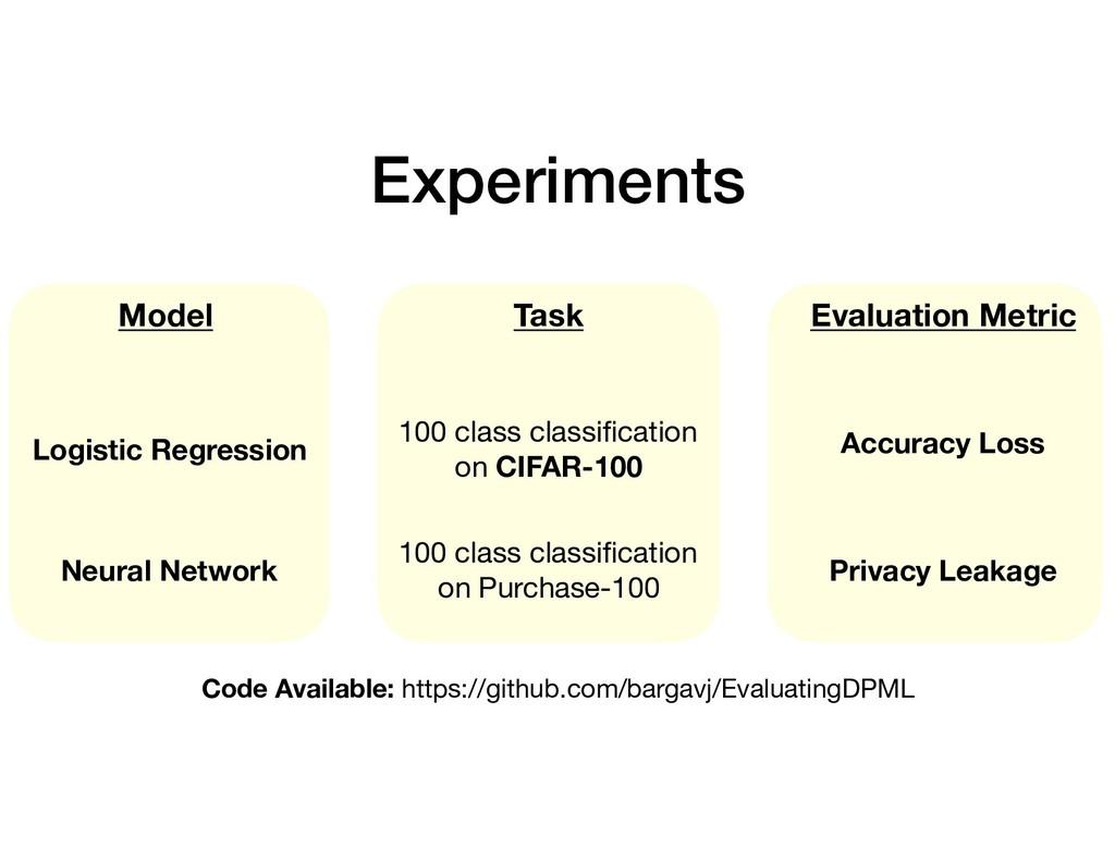 Experiments Task Model Evaluation Metric Logist...