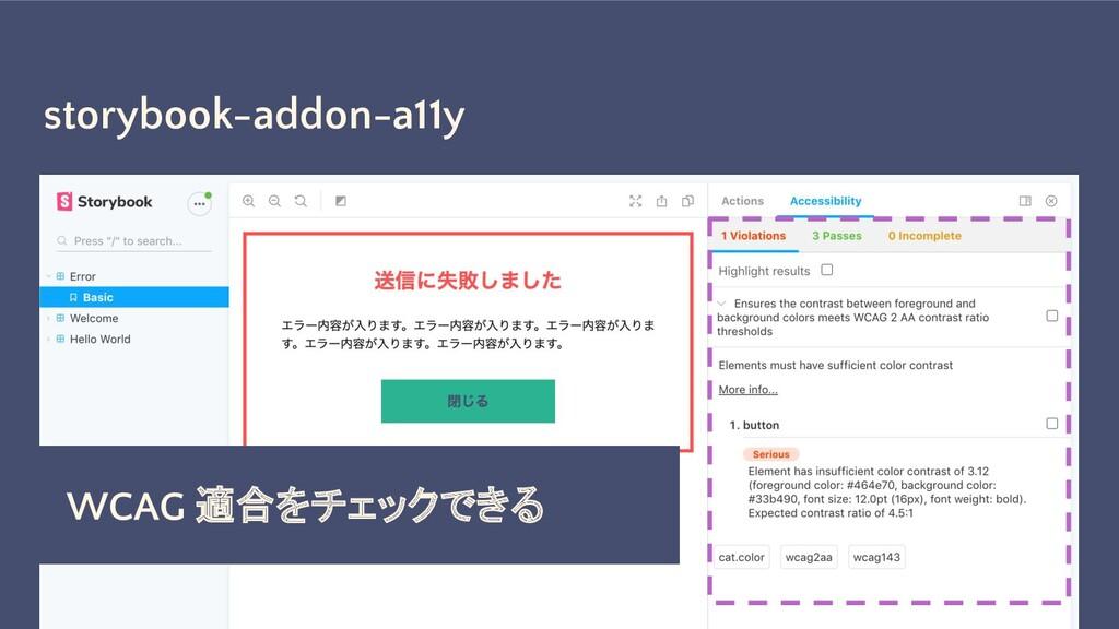 storybook-addon-a11y WCAG 適合をチェックできる