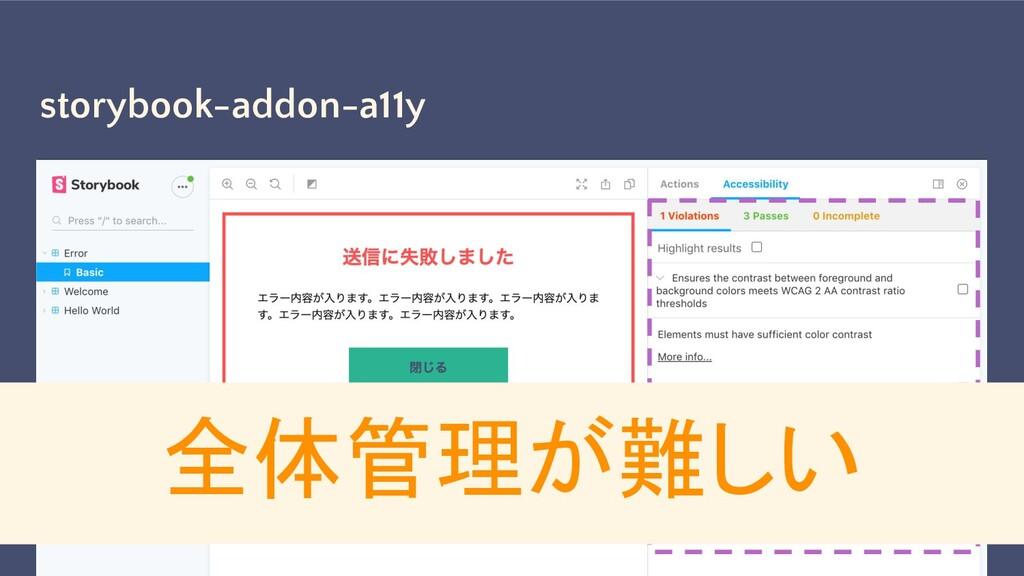 storybook-addon-a11y WCAG 適合をチェックできる 全体管理が難しい