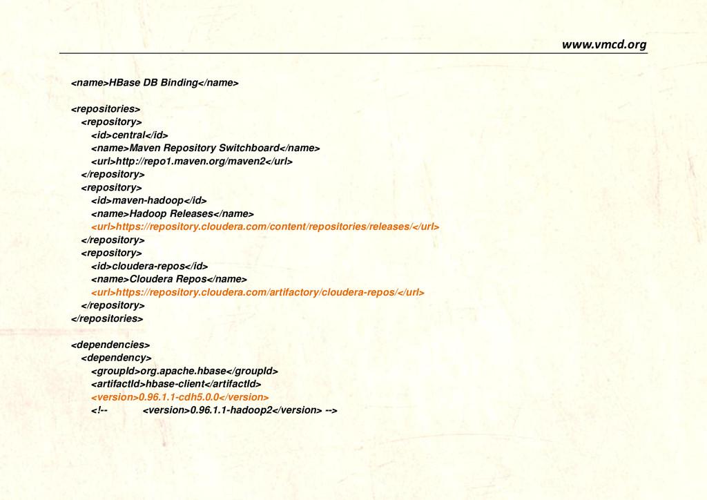 www.vmcd.org <name>HBase DB Binding</name> <rep...