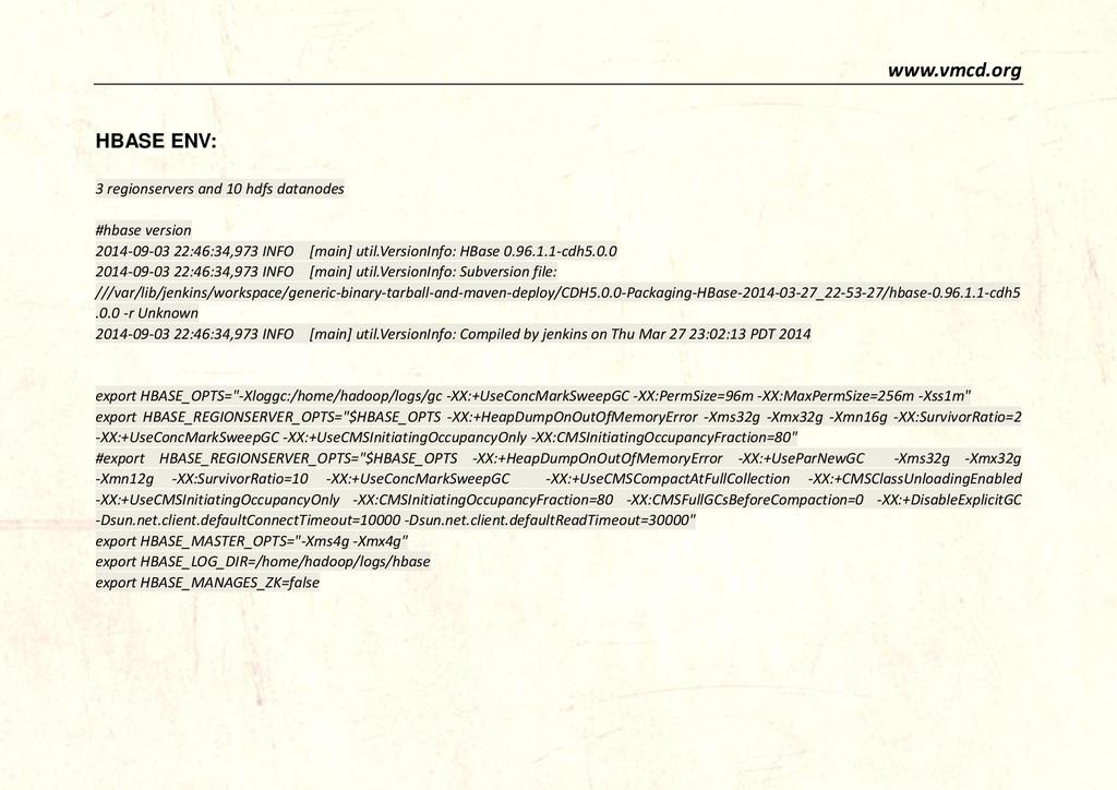 www.vmcd.org HBASE ENV: 3 regionservers and 10 ...