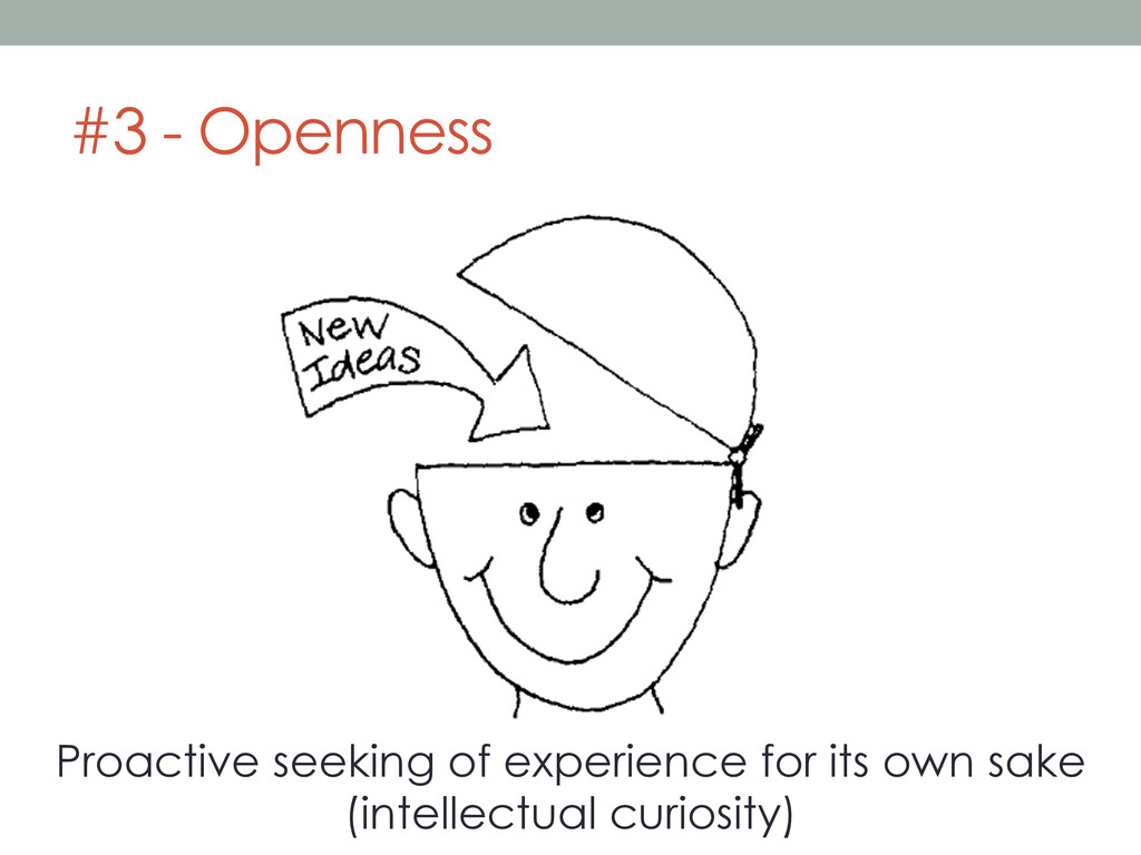 #3 - Openness Proactive seeking of experience f...