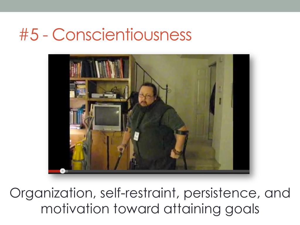 #5 - Conscientiousness Organization, self-restr...