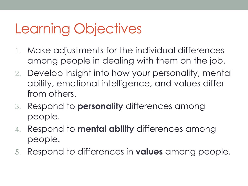 Learning Objectives 1. Make adjustments for th...