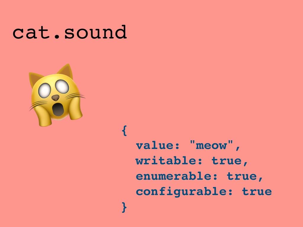 "{ value: ""meow"", writable: true, enumerable: tr..."