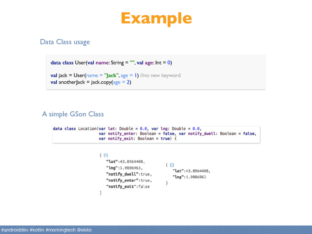 "Example data class User(val name: String = """", ..."