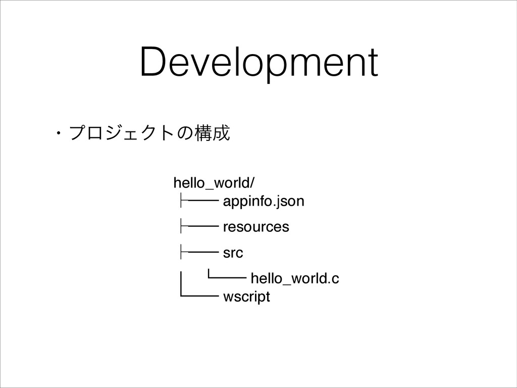 Development ɾϓϩδΣΫτͷߏ hello_world/! ᵓ── appinf...