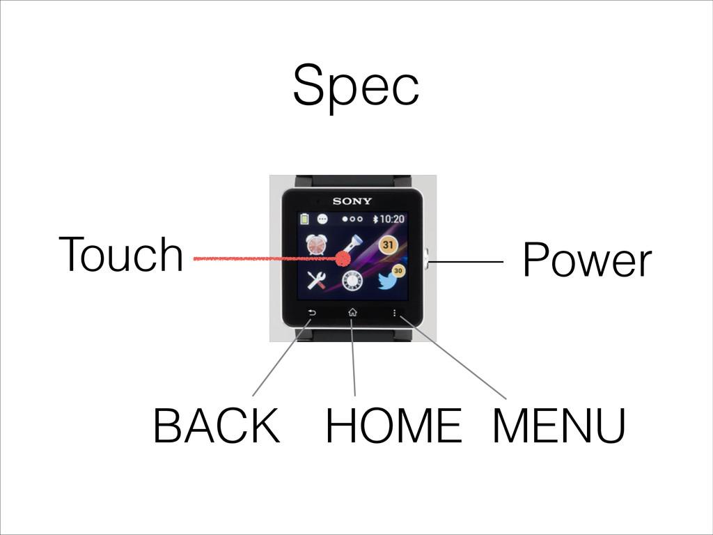 Spec Power HOME MENU BACK Touch