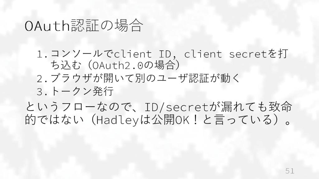 認証の場合 コンソールで を打 ち込む( の場合) ブラウザが開いて別のユーザ認証が動く トー...