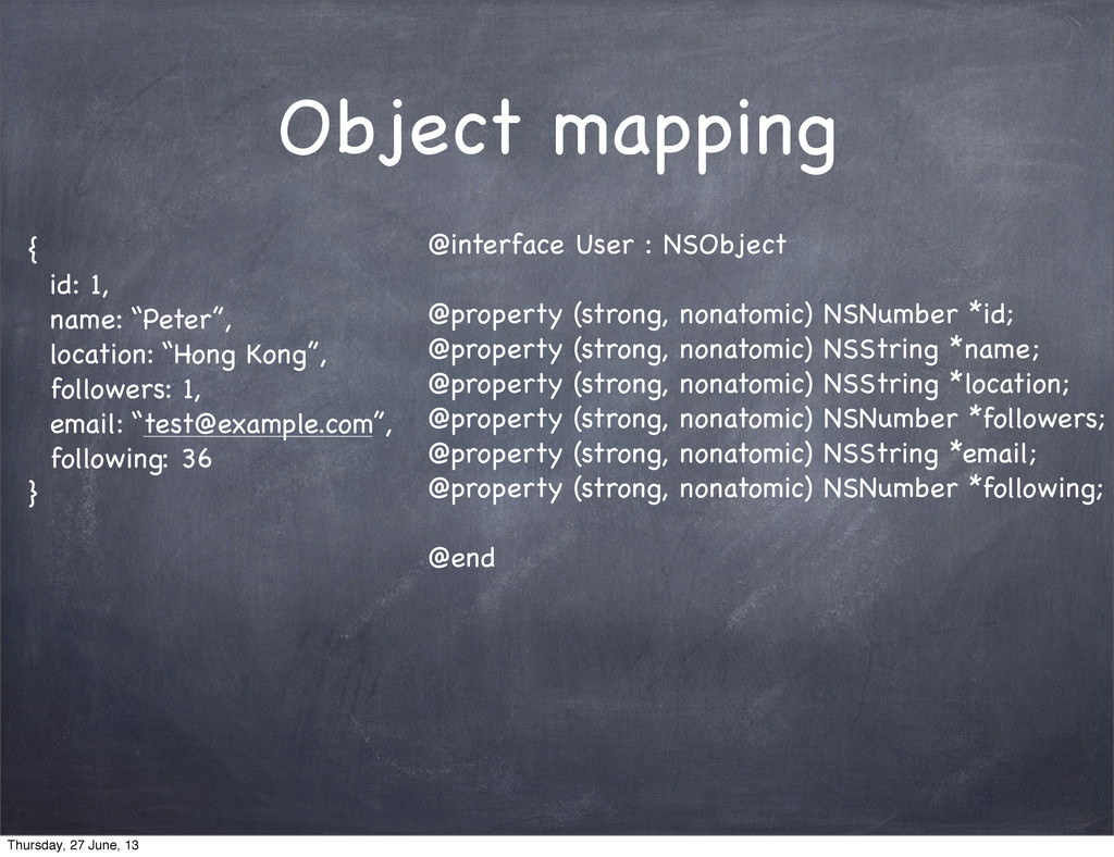 """Object mapping { id: 1, name: """"Peter"""", location..."""