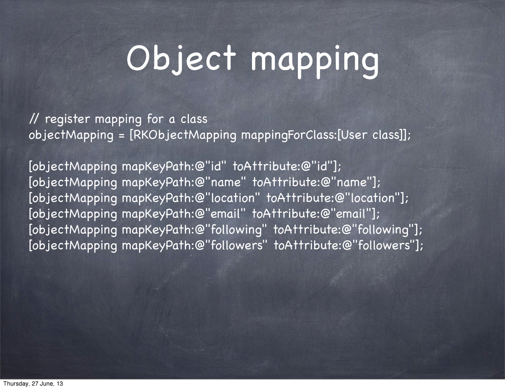 Object mapping / / register mapping for a class...