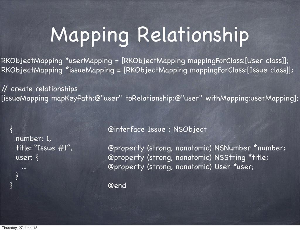Mapping Relationship RKObjectMapping *userMappi...