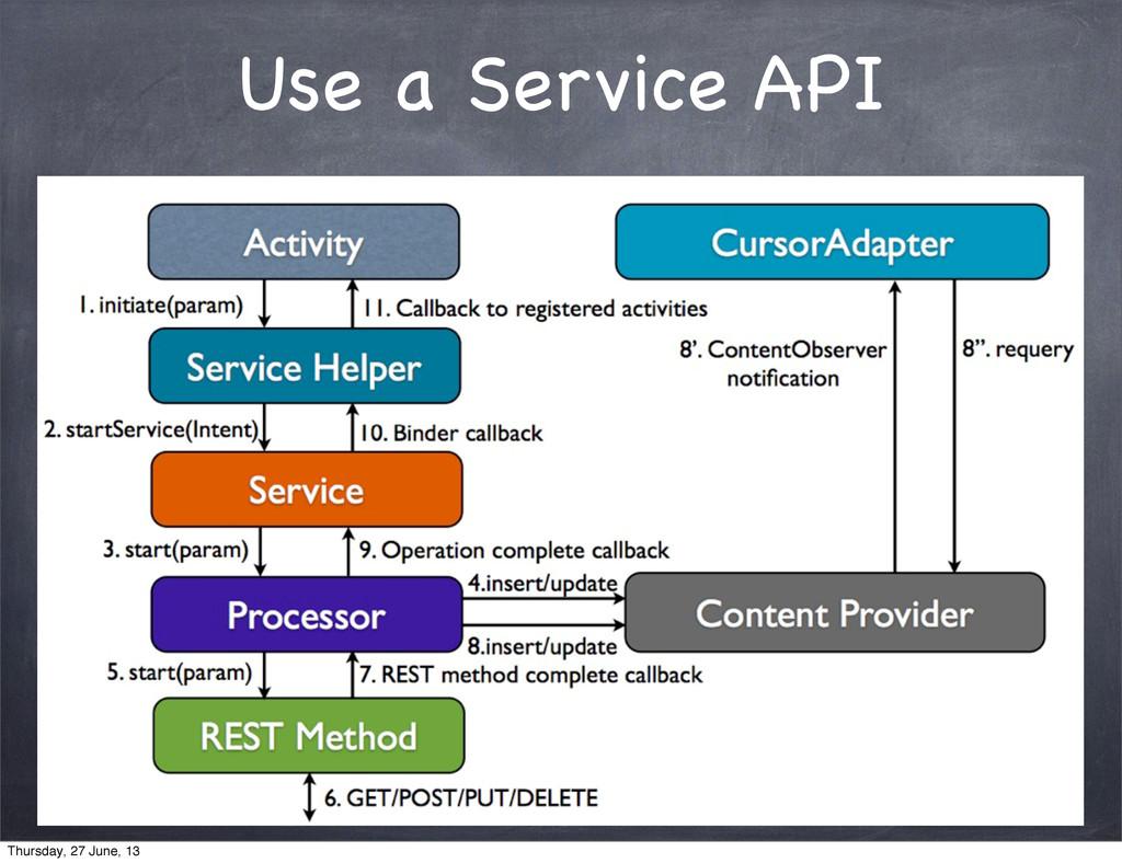Use a Service API Thursday, 27 June, 13