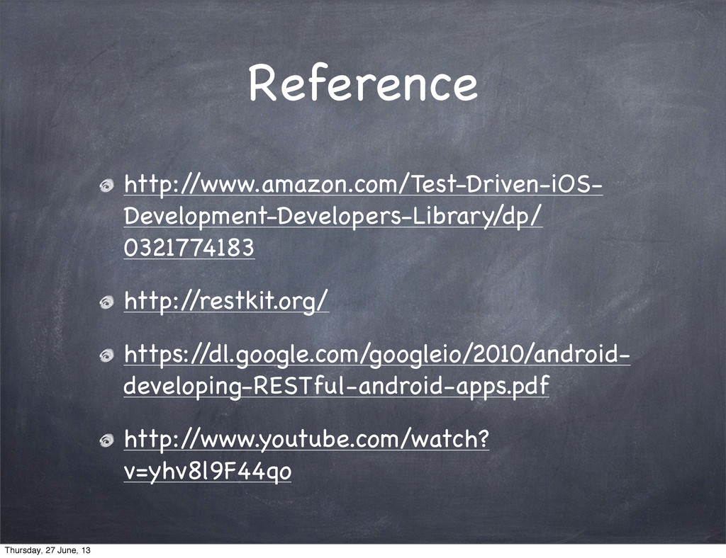 Reference http:/ /www.amazon.com/Test-Driven-iO...