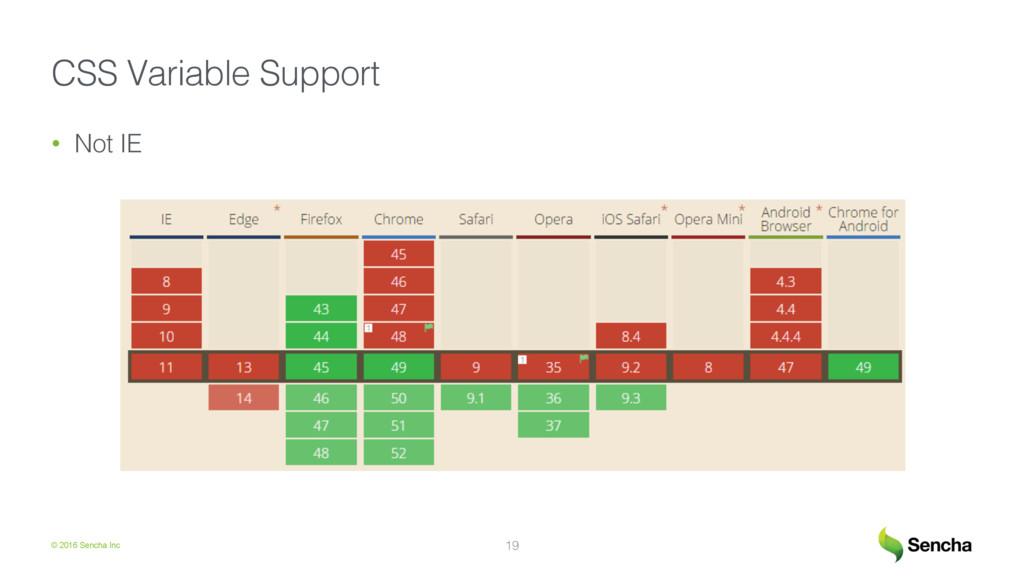 © 2016 Sencha Inc CSS Variable Support! • Not ...