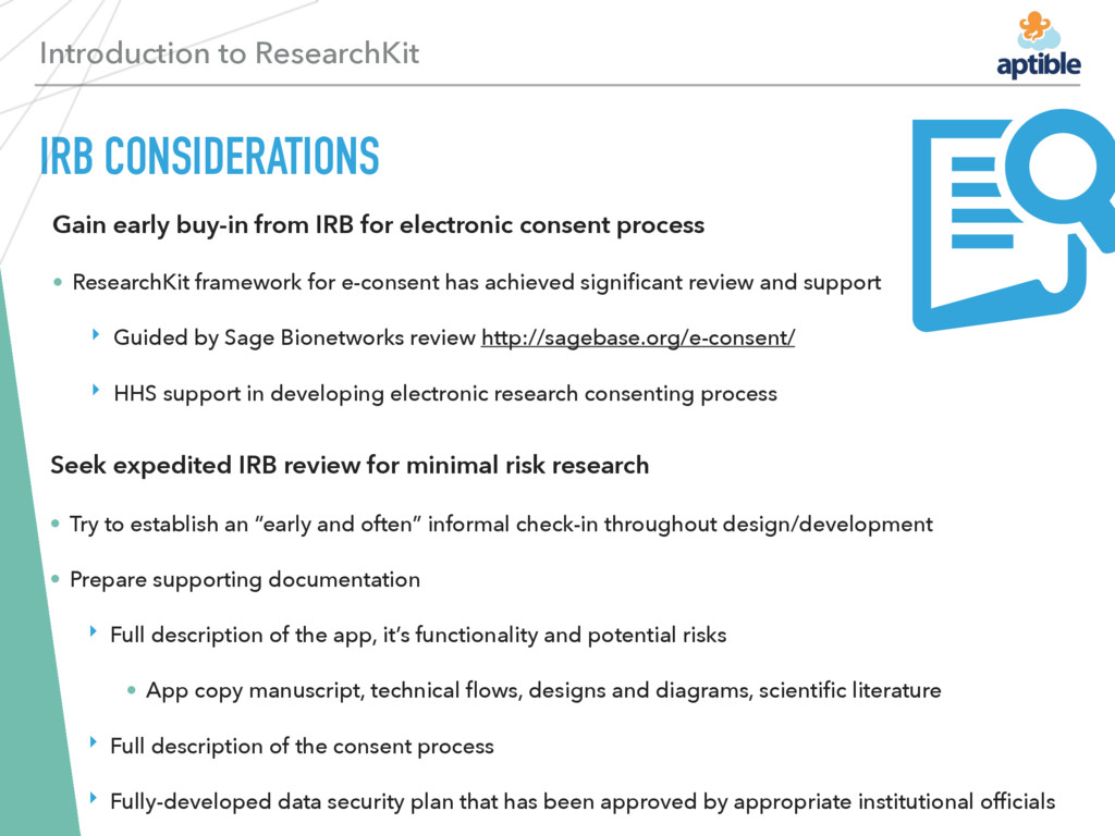 Introduction to ResearchKit IRB CONSIDERATIONS ...