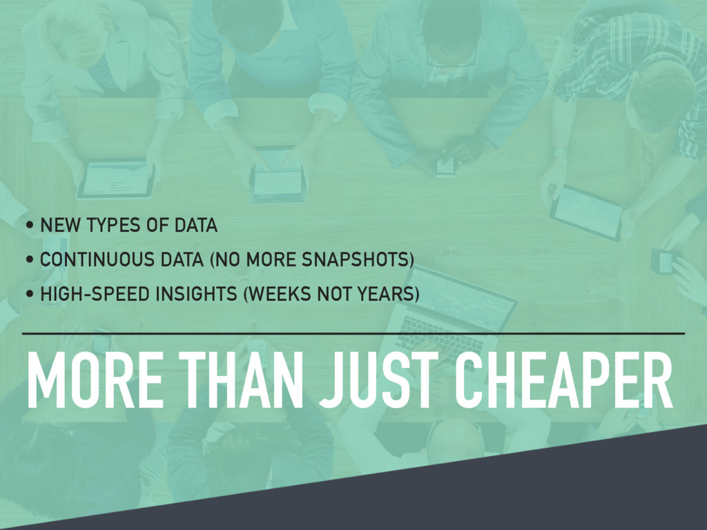 MORE THAN JUST CHEAPER • NEW TYPES OF DATA • CO...