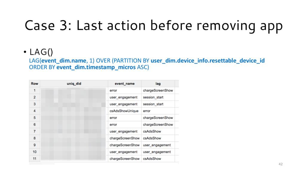 42 Case 3: Last action before removing app • LA...