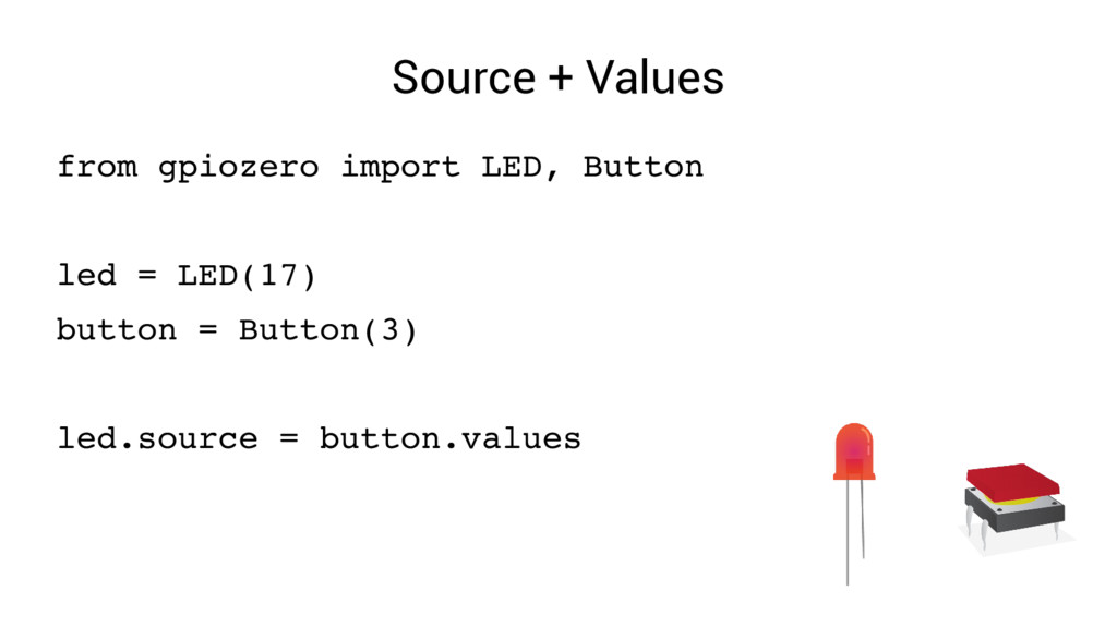 Source + Values from gpiozero import LED, Butto...