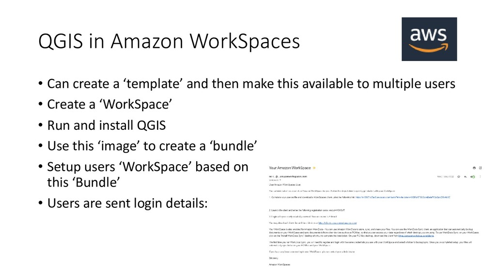 QGIS in Amazon WorkSpaces • Can create a 'templ...