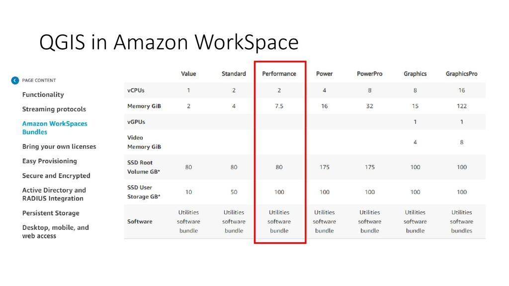 QGIS in Amazon WorkSpace