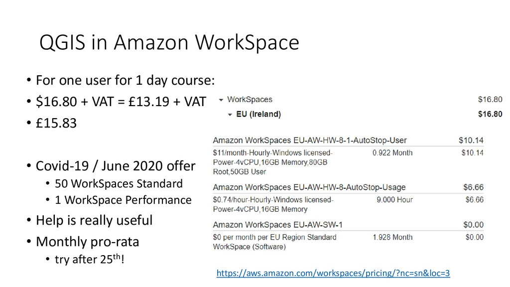 QGIS in Amazon WorkSpace • For one user for 1 d...