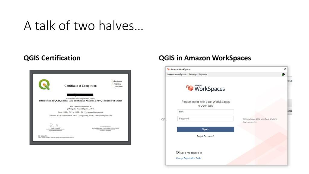 A talk of two halves… QGIS Certification QGIS i...