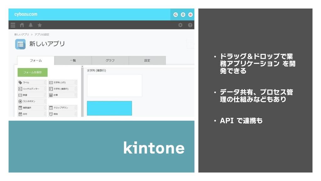 kintone • ドラッグ&ドロップで業 務アプリケーション を開 発できる • データ共有...