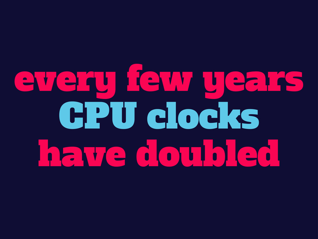 every few years CPU clocks have doubled
