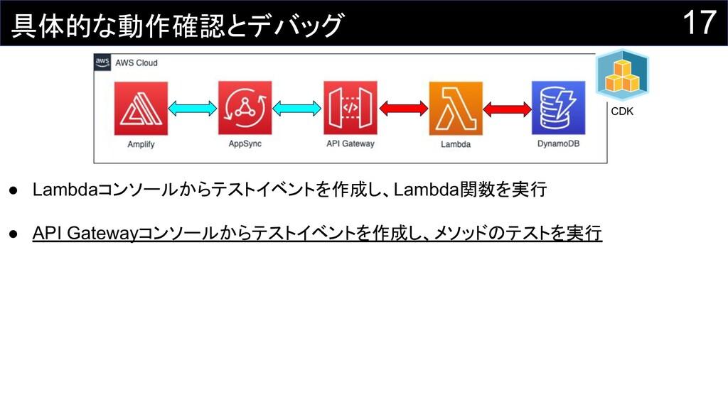 17 CDK ● Lambdaコンソールからテストイベントを作成し、Lambda関数を実行 ●...