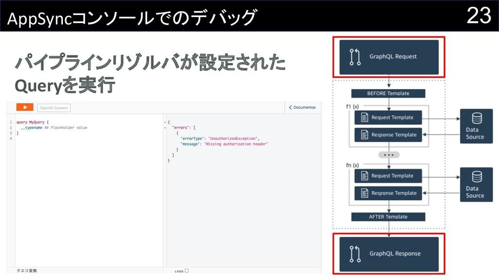 23 AppSyncコンソールでのデバッグ パイプラインリゾルバが設定された Queryを実行
