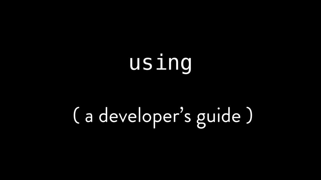 using ( a developer's guide )