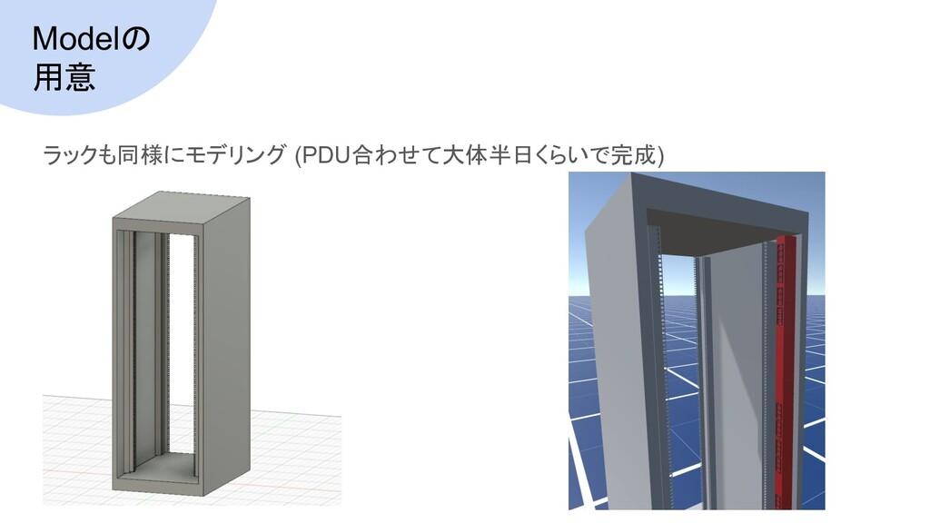 Modelの 用意 ラックも同様にモデリング (PDU合わせて大体半日くらいで完成)