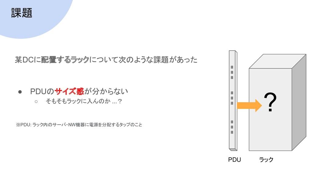課題 某DCに配置するラックについて次のような課題があった ● PDUのサイズ感が分からない ...