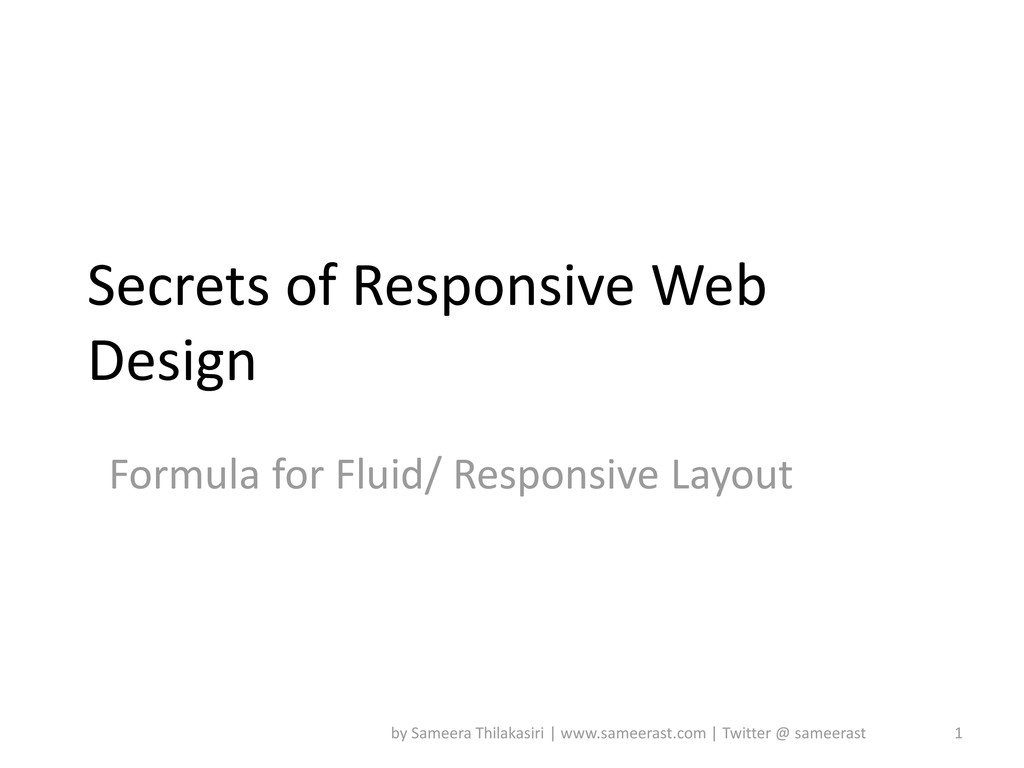 Secrets of Responsive Web Design Formula for Fl...