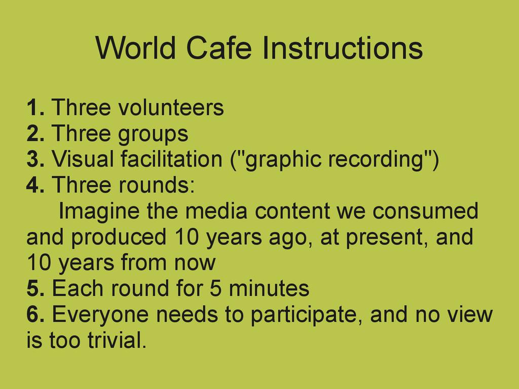 World Cafe Instructions 1. Three volunteers 2. ...