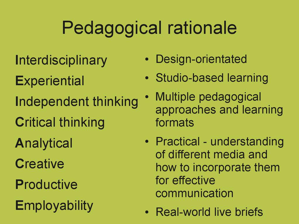 Pedagogical rationale Interdisciplinary Experie...