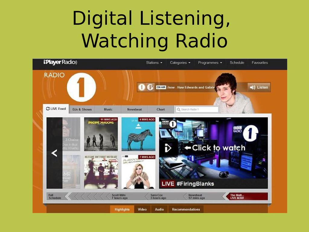 Digital Listening, Watching Radio