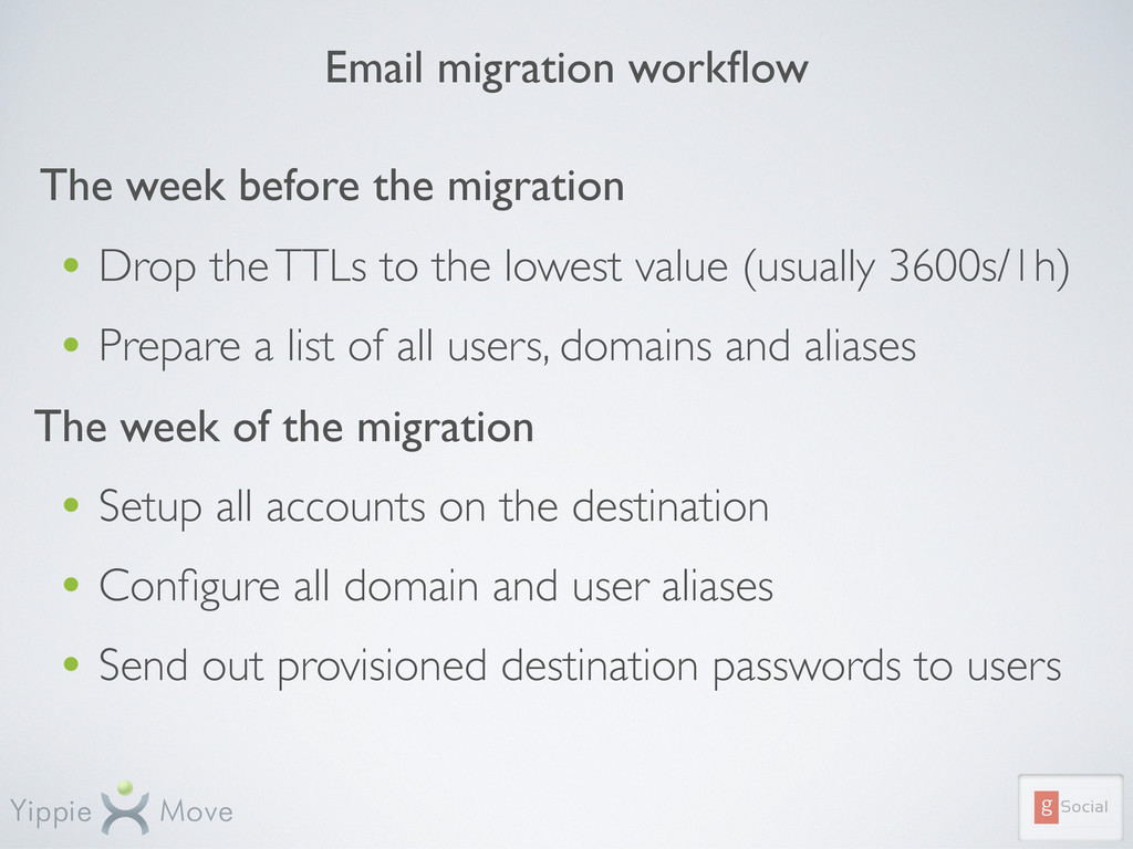 Email migration workflow The week before the mig...