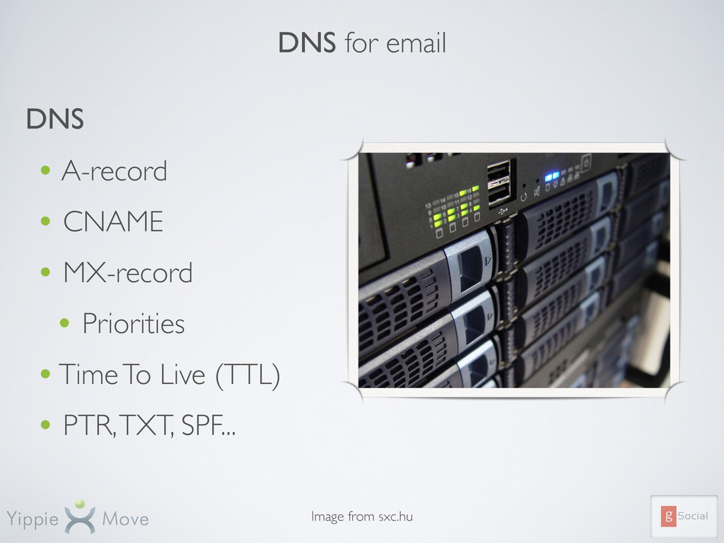 DNS for email DNS • A-record • CNAME • MX-recor...