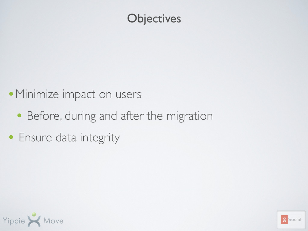 Objectives •Minimize impact on users • Before, ...