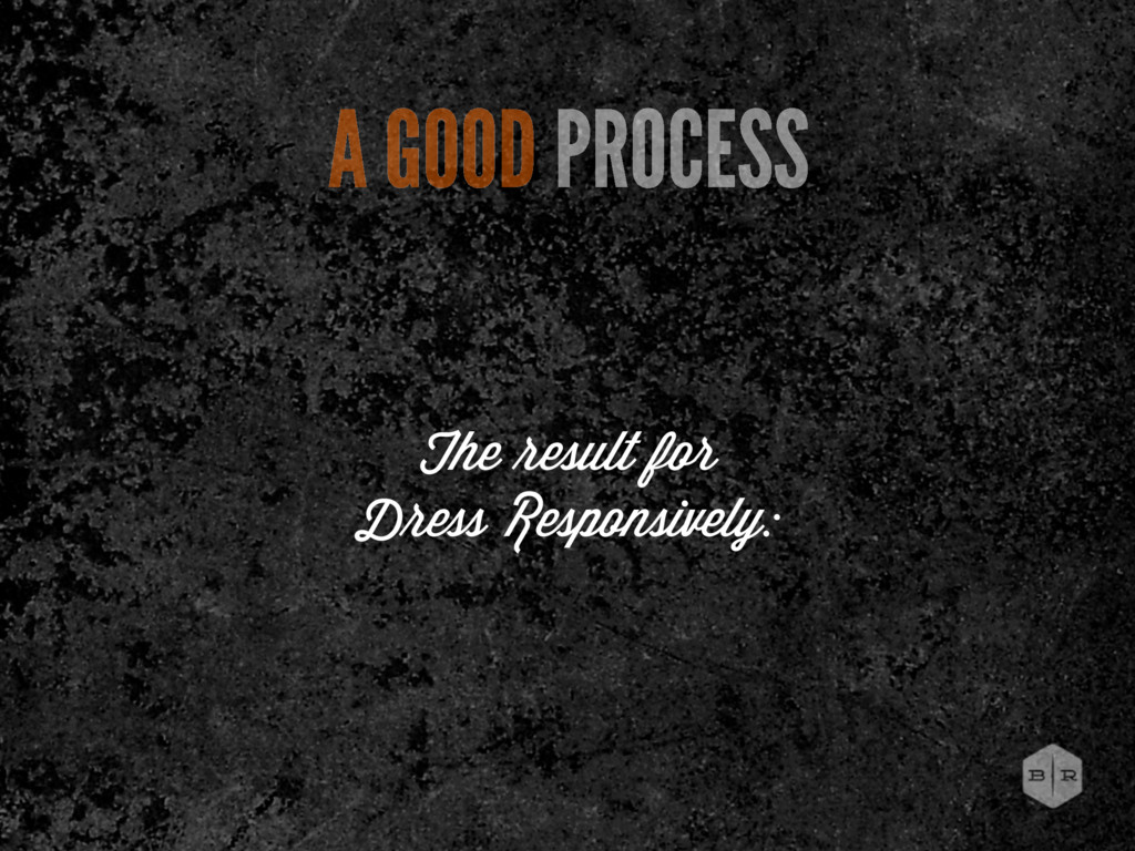 The esult for D ess Responsively: A GOOD PROCESS