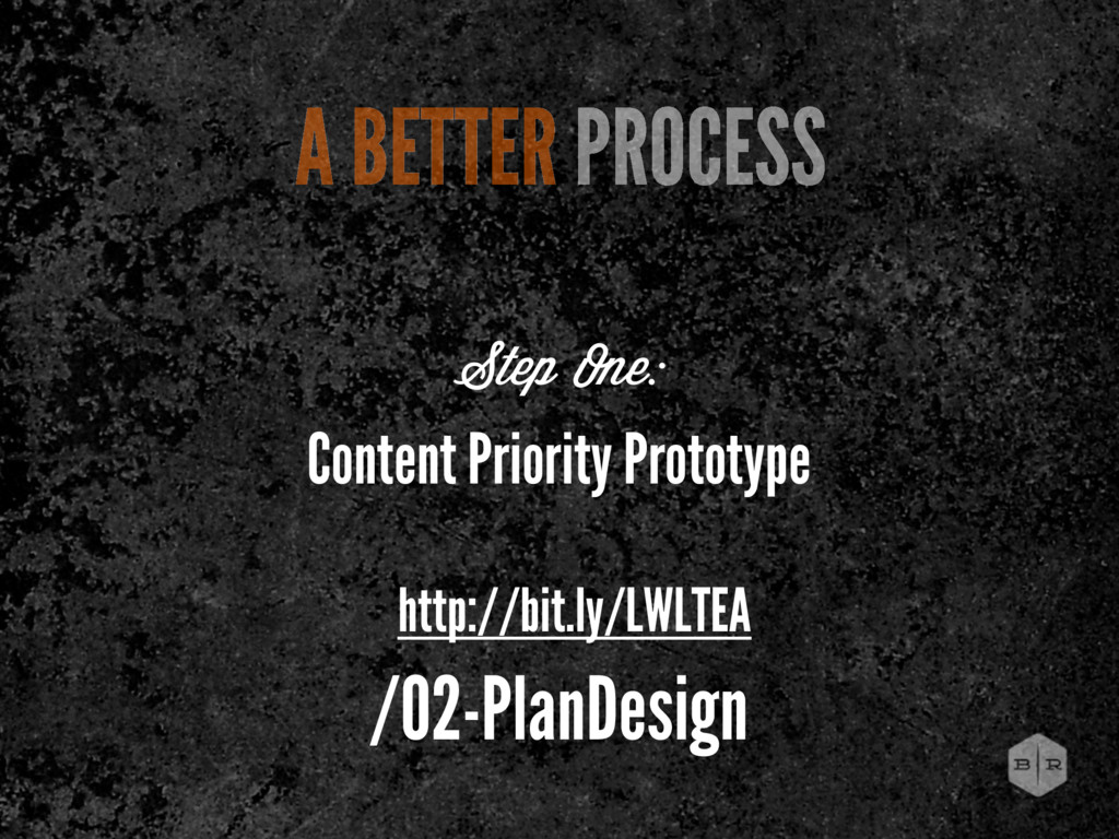A BETTER PROCESS Step One: Content Priority Pro...
