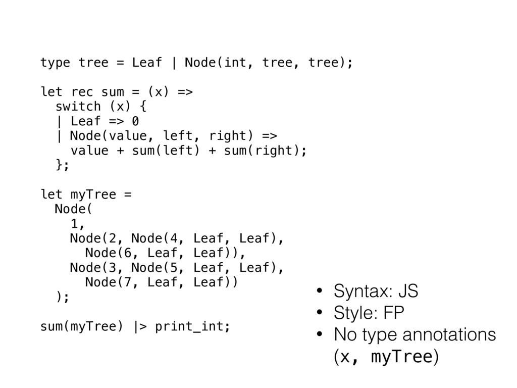 type tree = Leaf | Node(int, tree, tree); let r...