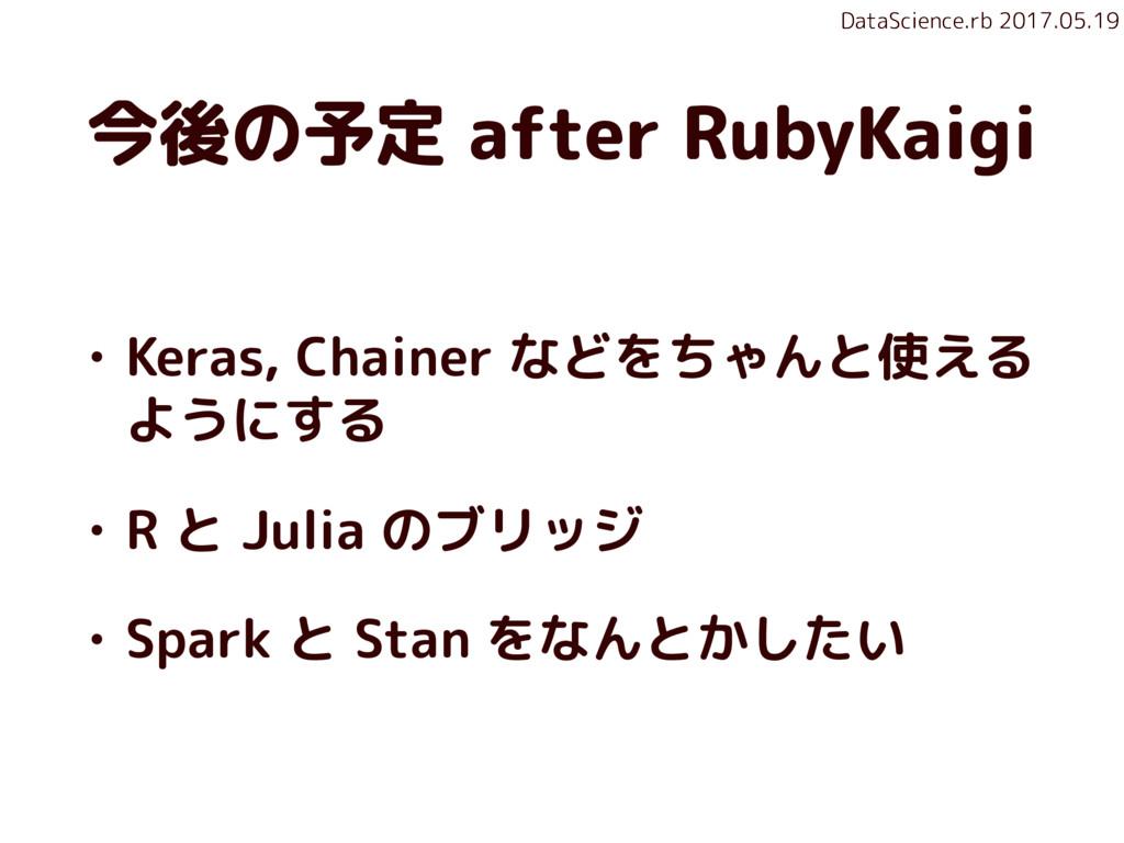 DataScience.rb 2017.05.19 今後の予定 after RubyKaigi...