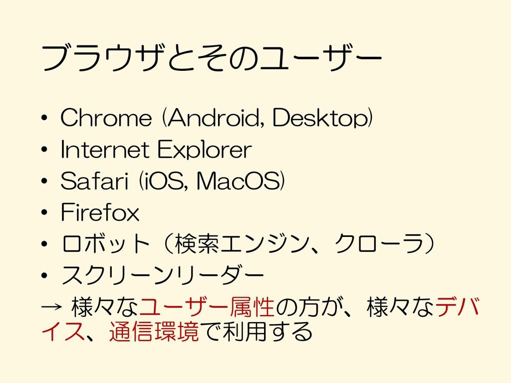 ブラウザとそのユーザー • Chrome (Android, Desktop) • Inter...