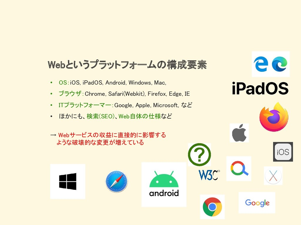 Webというプラットフォームの構成要素 • OS:iOS, iPadOS, Android, ...